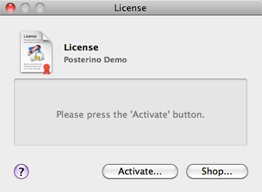 The license dialog